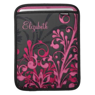 Pink Black Floral Personalized Rickshaw Sleeve Sleeves For iPads