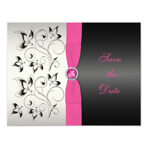 Pink Black Floral Save the Date Card