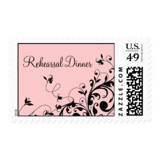 Pink Black Floral Swirls Rehearsal Dinner pos days Postage
