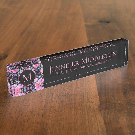 Pink Black Floral Watercolor Desk Name Plate