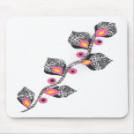 pink black flower mouse pads