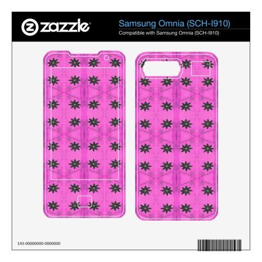 Pink Black Flower pattern Samsung Omnia Decal