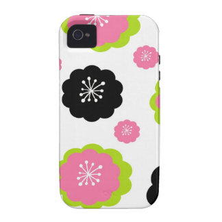 Pink black flowers girly mod chic floral pattern iPhone 4/4S case