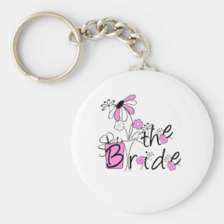 Pink Black Flowers The Bride Key Chain