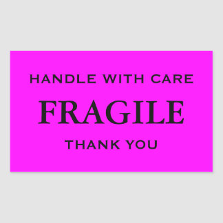 Pink/Black Fragile. Handle with Care. Thank you. Rectangular Sticker