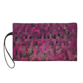 Pink & Black Geometric Design Wristlet