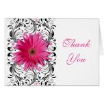 Pink Black Gerbera Daisy Floral Wedding Thank You Greeting Card