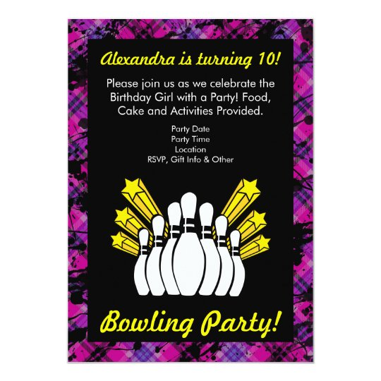 Pink, Black Girl Bowling Birthday Party Invitation