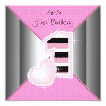 Pink Black Girls 1st Birthday Party Invitation