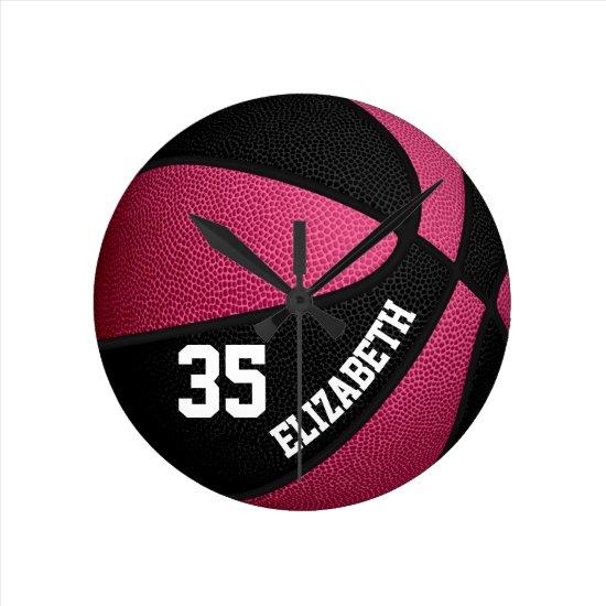 pink black girls basketball personalized round clock