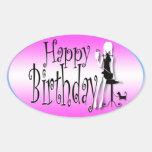 Pink black girls fashion chic oval sticker