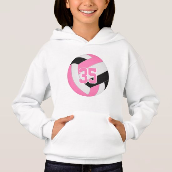pink black girl's jersey number volleyball hoodie