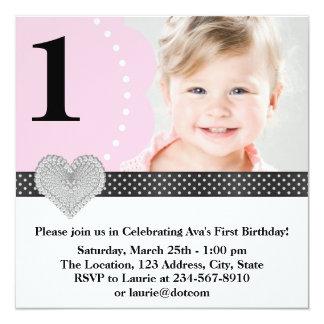 "Pink Black Girls Photo 1st Birthday Party 5.25"" Square Invitation Card"