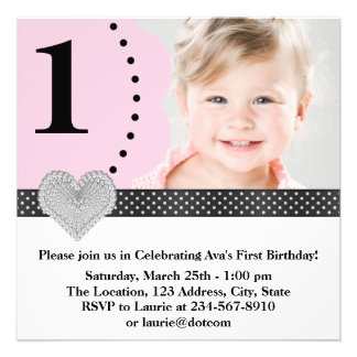 Pink Black Girls Photo 1st Birthday Party Personalized Invite