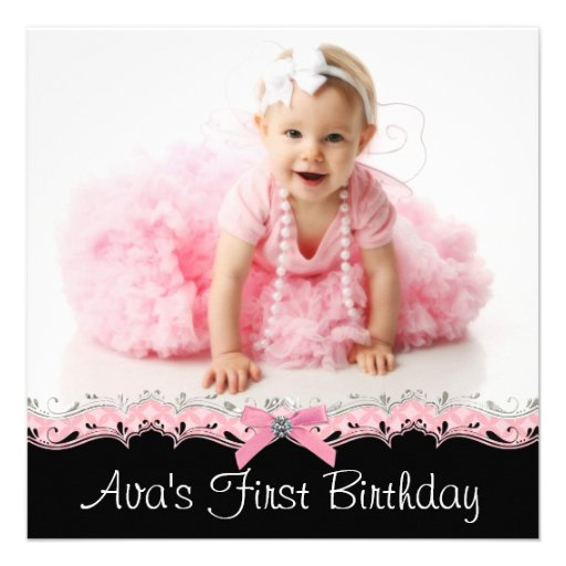 Pink Black Girls Photo 1st Birthday Party Announcement