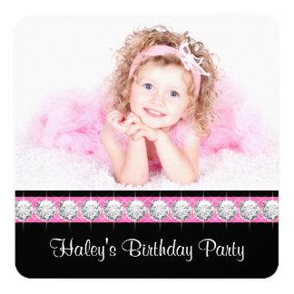Pink Black Girls Photo Birthday Party Invitations