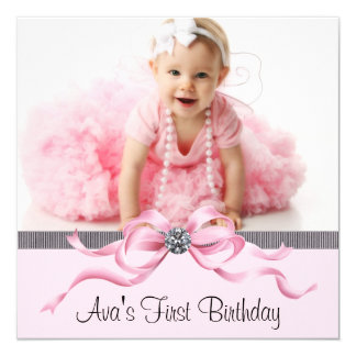 Pink Black Girls Photo First Birthday Party Card