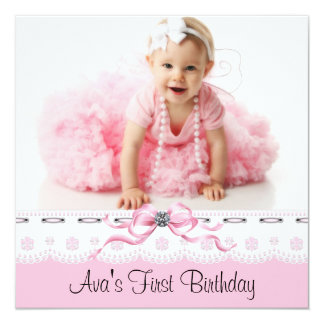 Pink Black Girls Photo First Birthday Party 5.25x5.25 Square Paper Invitation Card