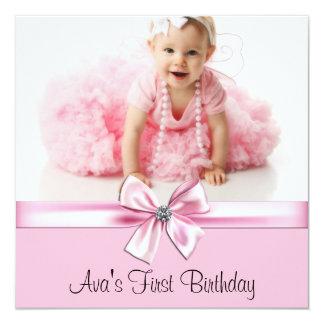 Pink Black Girls Photo First Birthday Party Custom Invitation