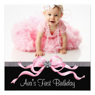 Pink Black Girls Photo First Birthday Party Personalized Announcements