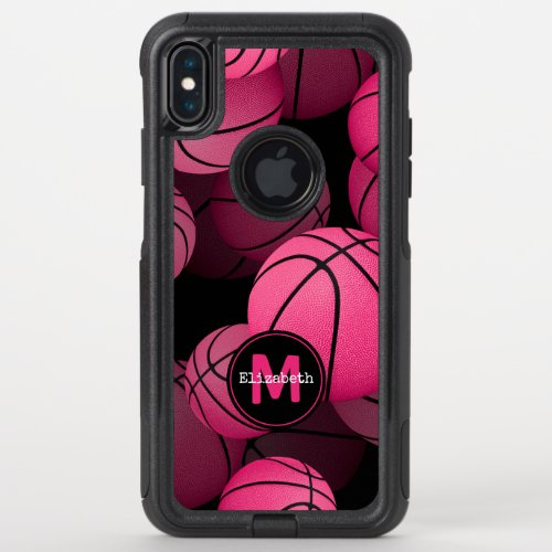 pink black girly basketball personalized Phone Case