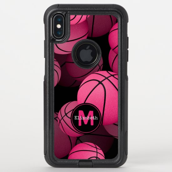 pink black girly basketball personalized OtterBox commuter iPhone XS max case