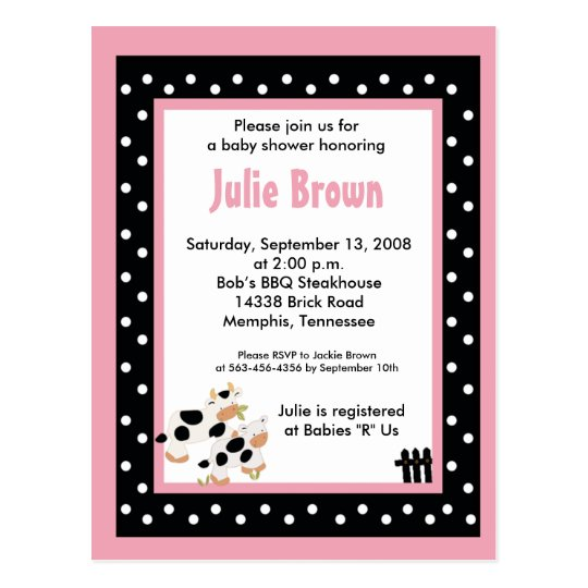 Pink & Black Girly Moo Cow Baby Shower Invitations