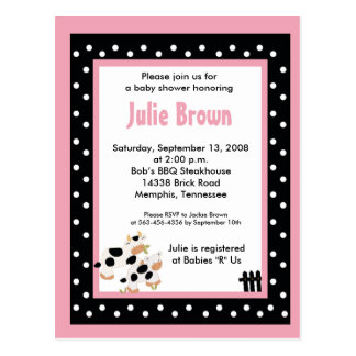 Pink & Black Girly Moo Cow Baby Shower Invitations Postcard