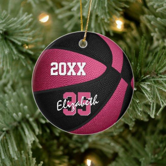 pink black girly sports memento basketball ceramic ornament