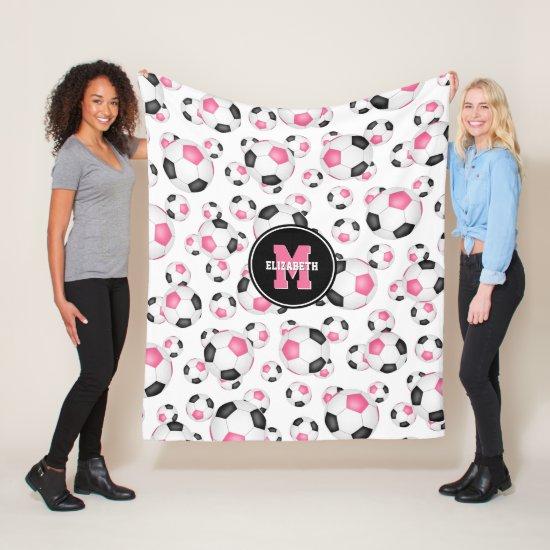 pink black girly sports pattern soccer room decor fleece blanket