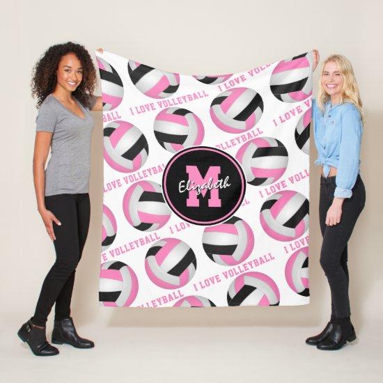 pink black girly sports room I love volleyball Fleece Blanket