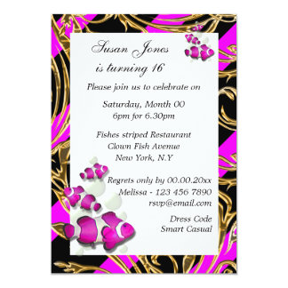 Pink black gold birthday PERSONALIZE 5x7 Paper Invitation Card