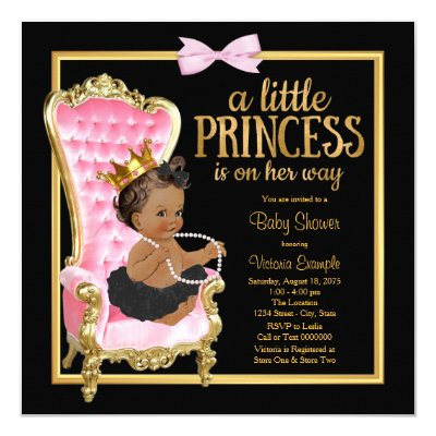 Brunette Princess Baby Shower Pink Silk Dark Card   Zazzle.com