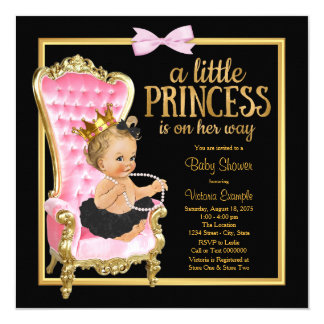 Pink Black Gold Chair Princess Baby Shower Card