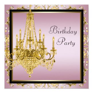 Pink Black Gold Chandelier Birthday Party Card