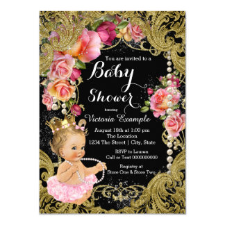 Pink Black Gold Chintz Rose Pearl Baby Shower Card