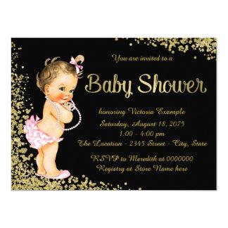 Pink Black Gold Foil Glitter Girl Baby Shower Card