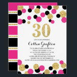 """Pink, Black & Gold Glitter Confetti 30th Birthday Invitation<br><div class=""""desc"""">Sparkling Glitter Confetti 