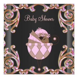 Pink Black Gold Lace Baby Girl Shower Invitations