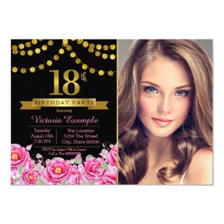 Pink Black Gold Modern 18th Birthday Party Card