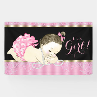 Pink Black Gold Pearl Baby Shower Banner