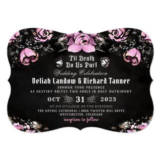 Pink & Black Gothic Roses & Skeletons Wedding Invitation