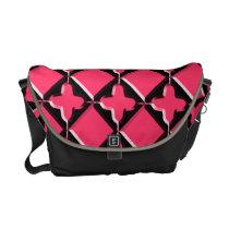 Pink & Black Gothic Windowpane Messenger Bag