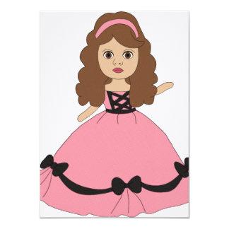 "Pink & Black Gown Princess 1 4.5"" X 6.25"" Invitation Card"
