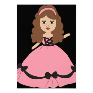 "Pink & Black Gown Princess 1 3.5"" X 5"" Invitation Card"