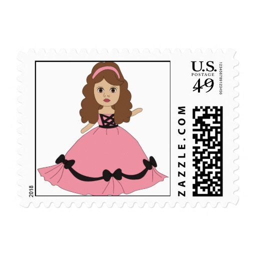 Pink & Black Gown Princess 1 Postage Stamp