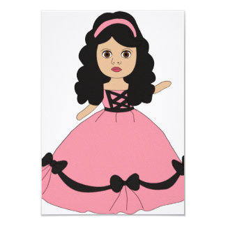 "Pink & Black Gown Princess 2 3.5"" X 5"" Invitation Card"