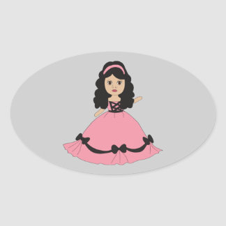 Pink & Black Gown Princess 2 Oval Sticker