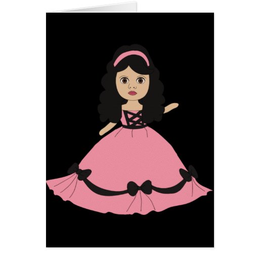Pink & Black Gown Princess 2 Stationery Note Card