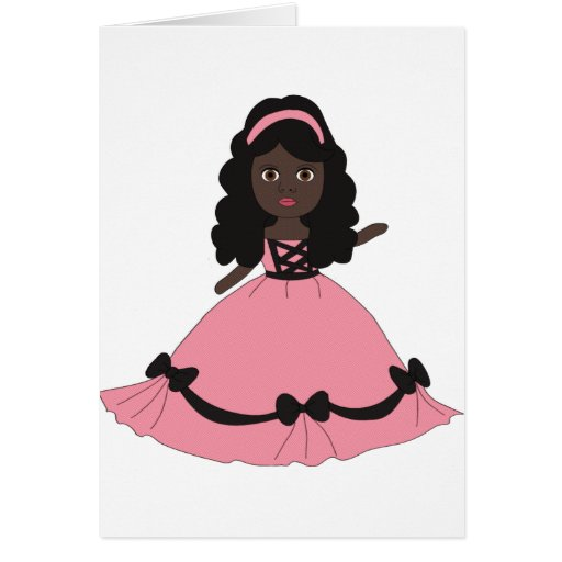 Pink & Black Gown Princess 3 Stationery Note Card
